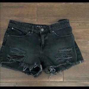 Volcom distressed black denim cutoff shorts summer
